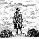 drawing of the statue of Robert Richard Randall at Snug Harbor